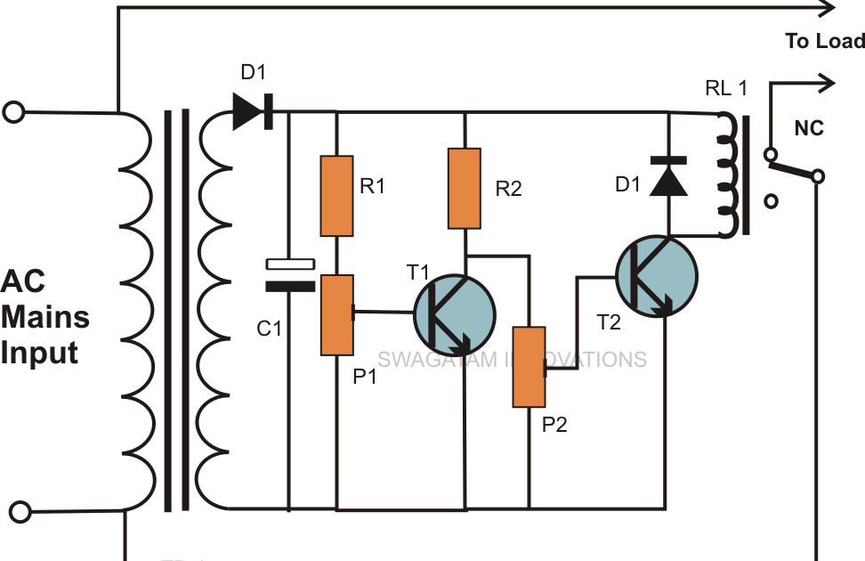 super circuit diagram  high and low mains voltage cut off