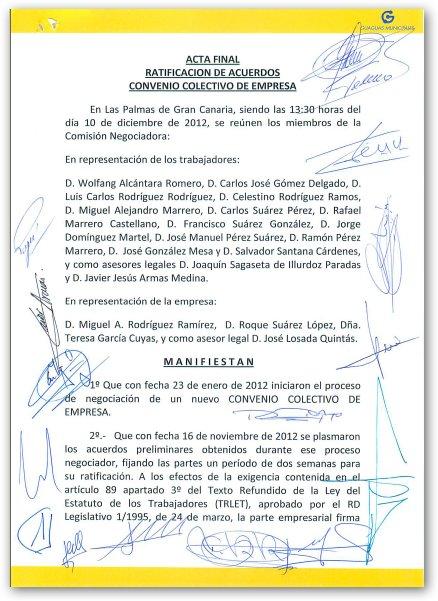 Acta de Acuerdo de Convenio Colectivo