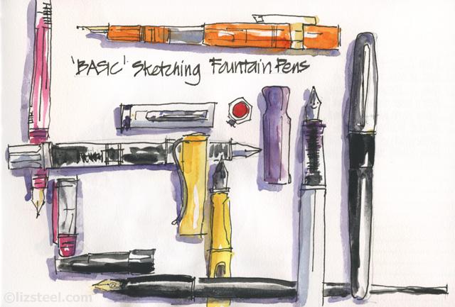 fountain pen sketching part 5 basic pens liz steel liz steel