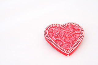 Red Rose Heart Brooch handmade from polymer clay Valentine Gifts & Jewellery