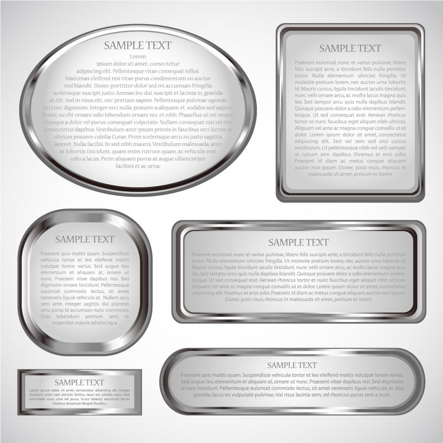 銀色のメタリックなテキストフレーム silver metal frame イラスト素材