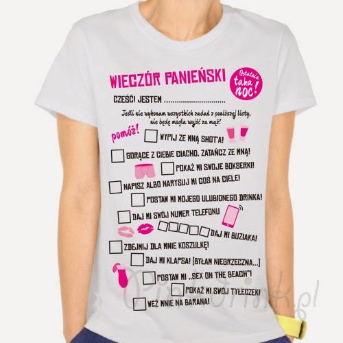 Koszulka - gra na wieczór panieński z zadaniami. Hit imprezy!