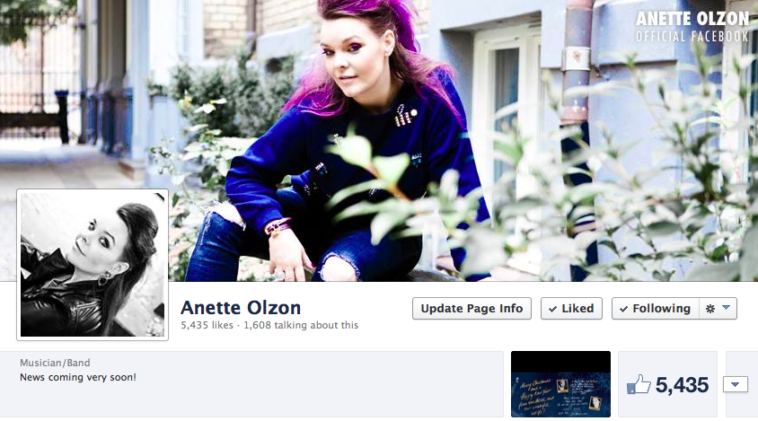 Anette Olzon Official Facebook page