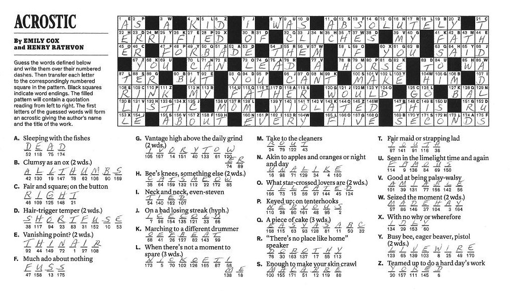 The New York Times Crossword In Gothic February 2012