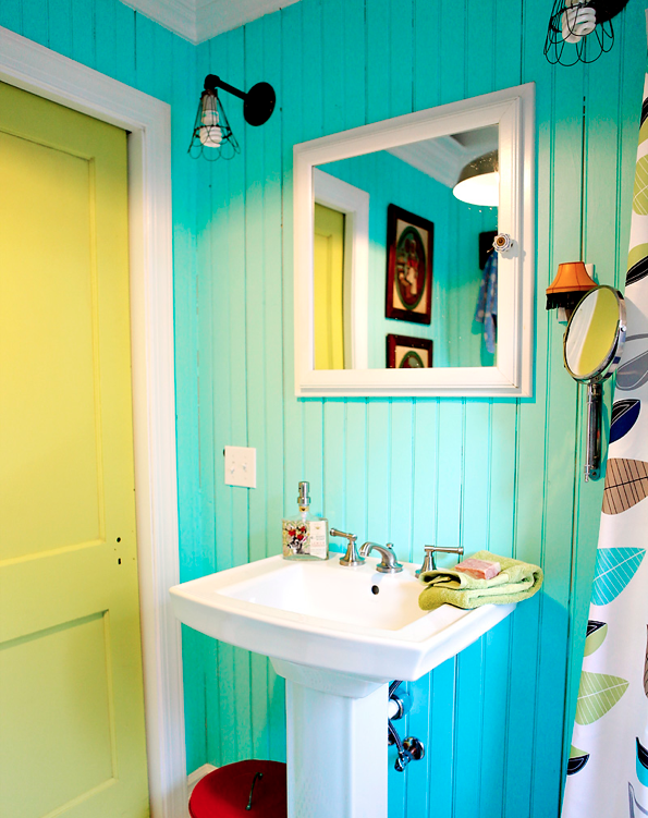 Colourful Industrial Bathroom Makeover