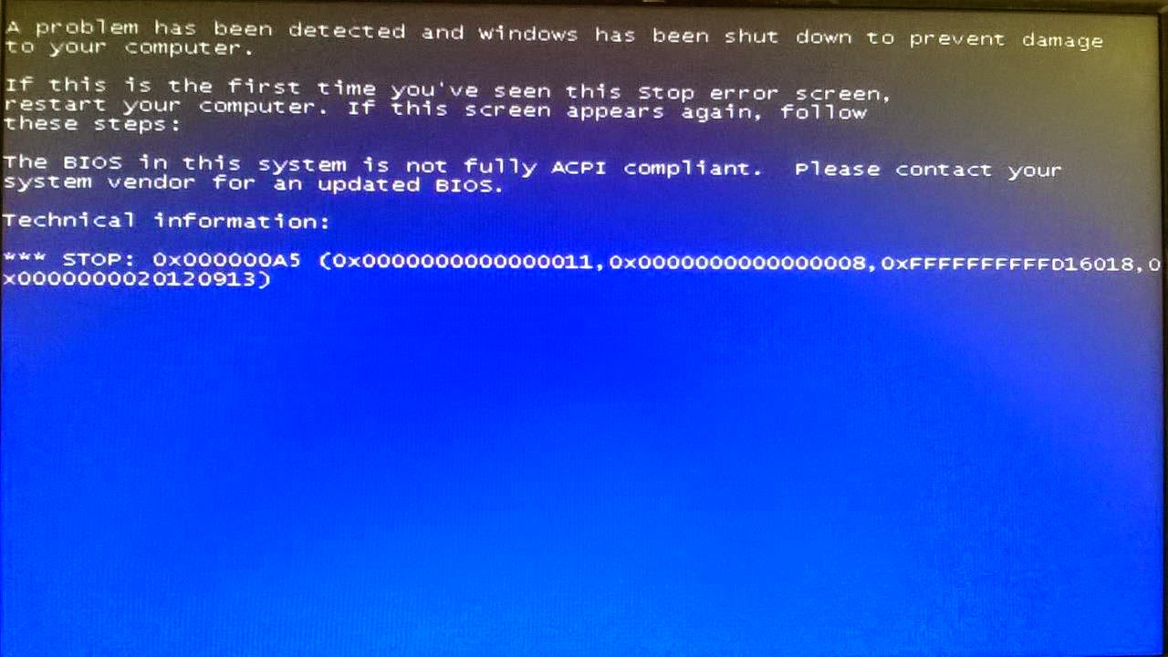 BIOS in this system is not fully ACPI compliant. Windows ...