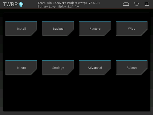 Features, Interface TWRP