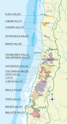 Mapa vitivinícola do Chile