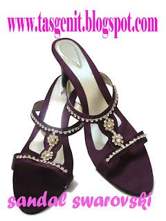 sandal pesta wanita swarovski, sepatu big size