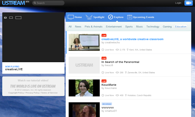 screenshot of new ustream site design