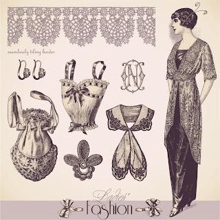 ヴィンテージ ファッション デザイン Vintage fashion design illustrations イラスト素材2