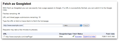 Google's Site Indexing Submission Tool