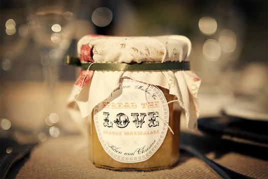 orange marmalade wedding favor