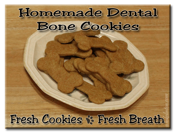 Homemade dental bone cookies on a plate. Fresh Cookies ~ Fresh Breath