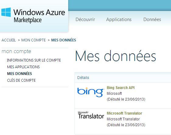 Windows Azure Marketplace data