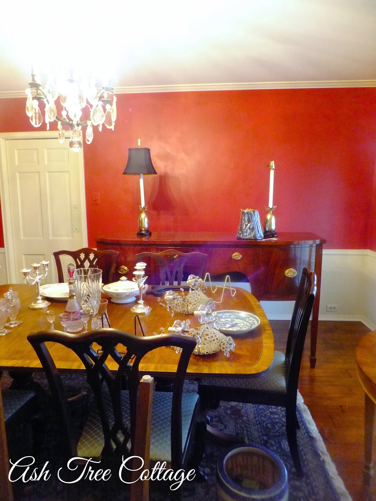 Ash Tree Cottage Newly Painted Red Dining Room