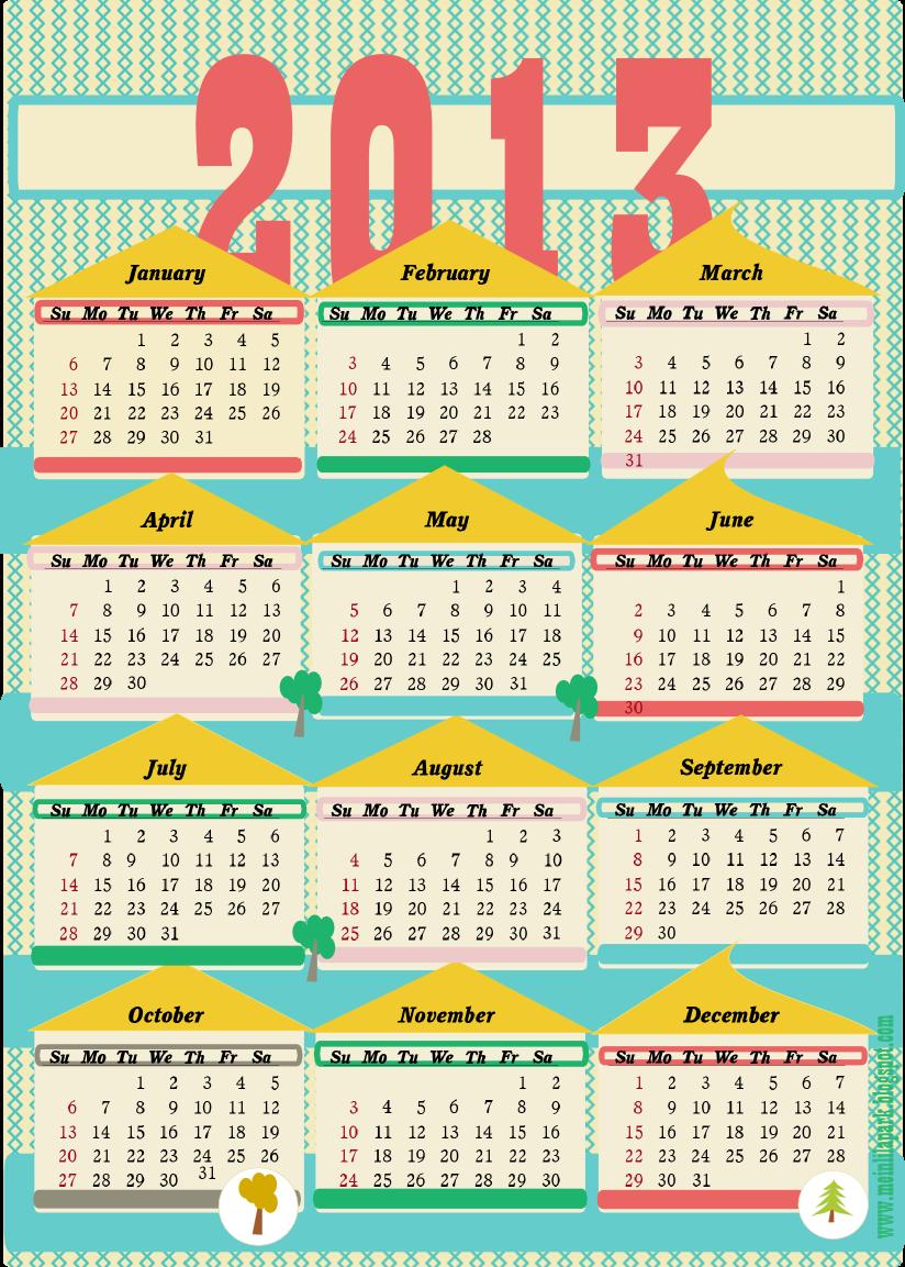 free printable 2013 calendar ii ausdruckbarer kalender 2013 freebie meinlilapark. Black Bedroom Furniture Sets. Home Design Ideas