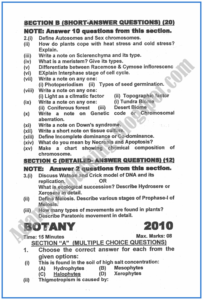 Botany-2010-past-year-paper-class-XII
