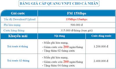 Bảng giá gói internet cáp quang Fm 15M