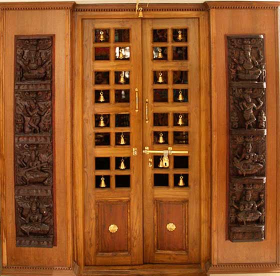 Latest pooja room door frame and door design gallery for Front door frame designs