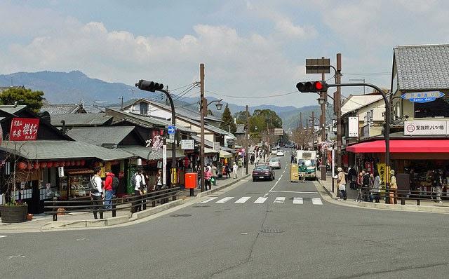 Looking in to Arashiyama from Togetsukyo Bridge