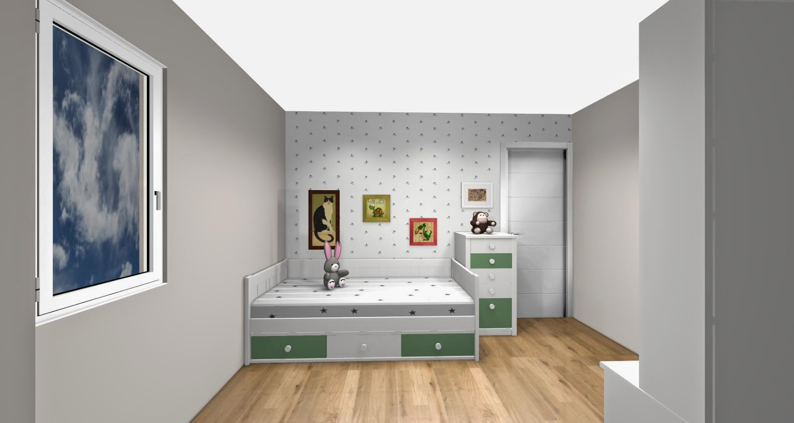 Habitacion infantil lacada compuesta por cama nido con for Dormitorios decorados en gris