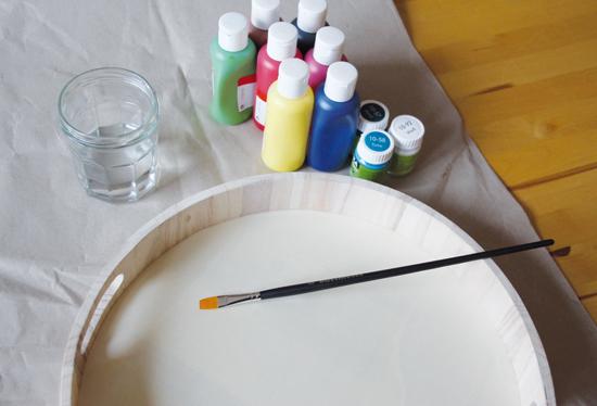 binedoro Blog, DIY, Holztablett bemalen, Tablett, Holz, Acrylfarbe