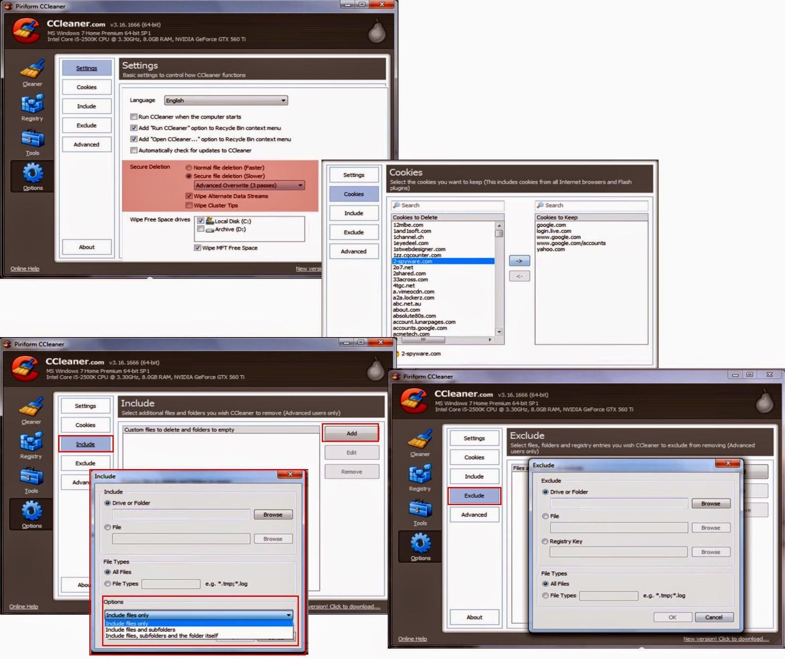 CCleaner - Opções