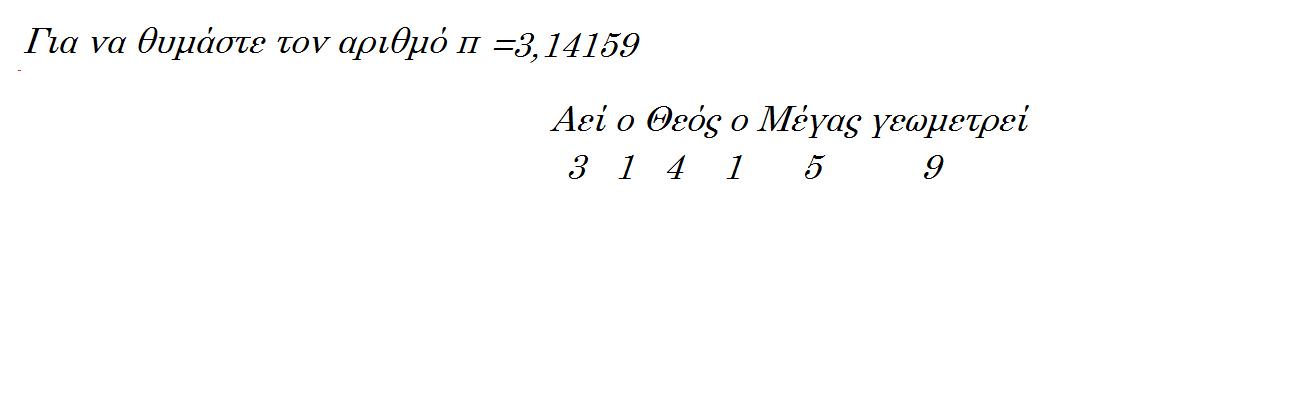 αριθμό Π=3,14159... ένας πολύ εύκολος τρόπος να το θυμάστε είναι η ρήση: