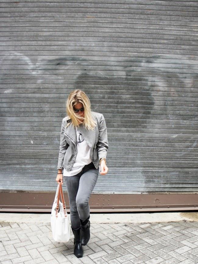 Bogs Dakota Boots, American Eagle skinny gray jeans, gray motorcycle jacket, sauce sunglasses T-shirt