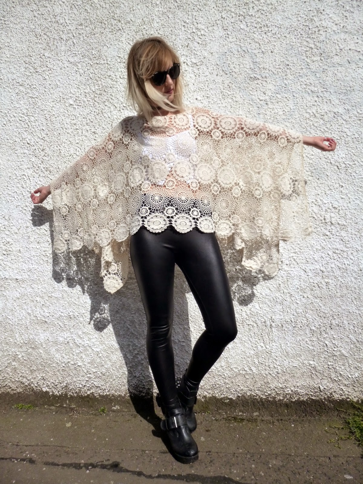 Robots Eating Roses: Chicwish Crochet Poncho and Pleather Leggings