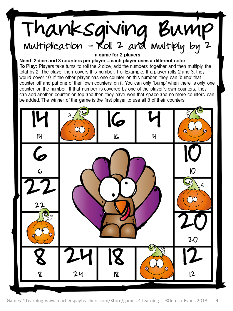 Here are 2 Thanksgiving Math Bump Games - one is a subtraction game ...