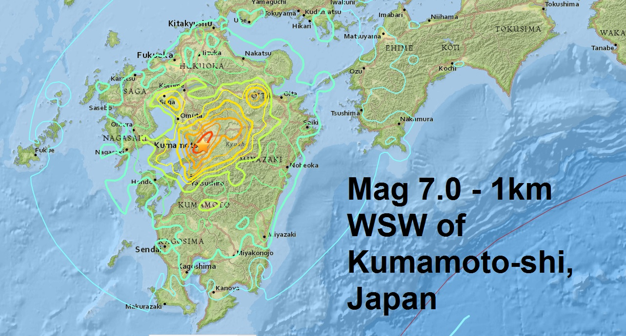 A magnitude 7.0 - 1km WSW of Kumamoto-shi, Japan is the latest major quake to strike the earth...