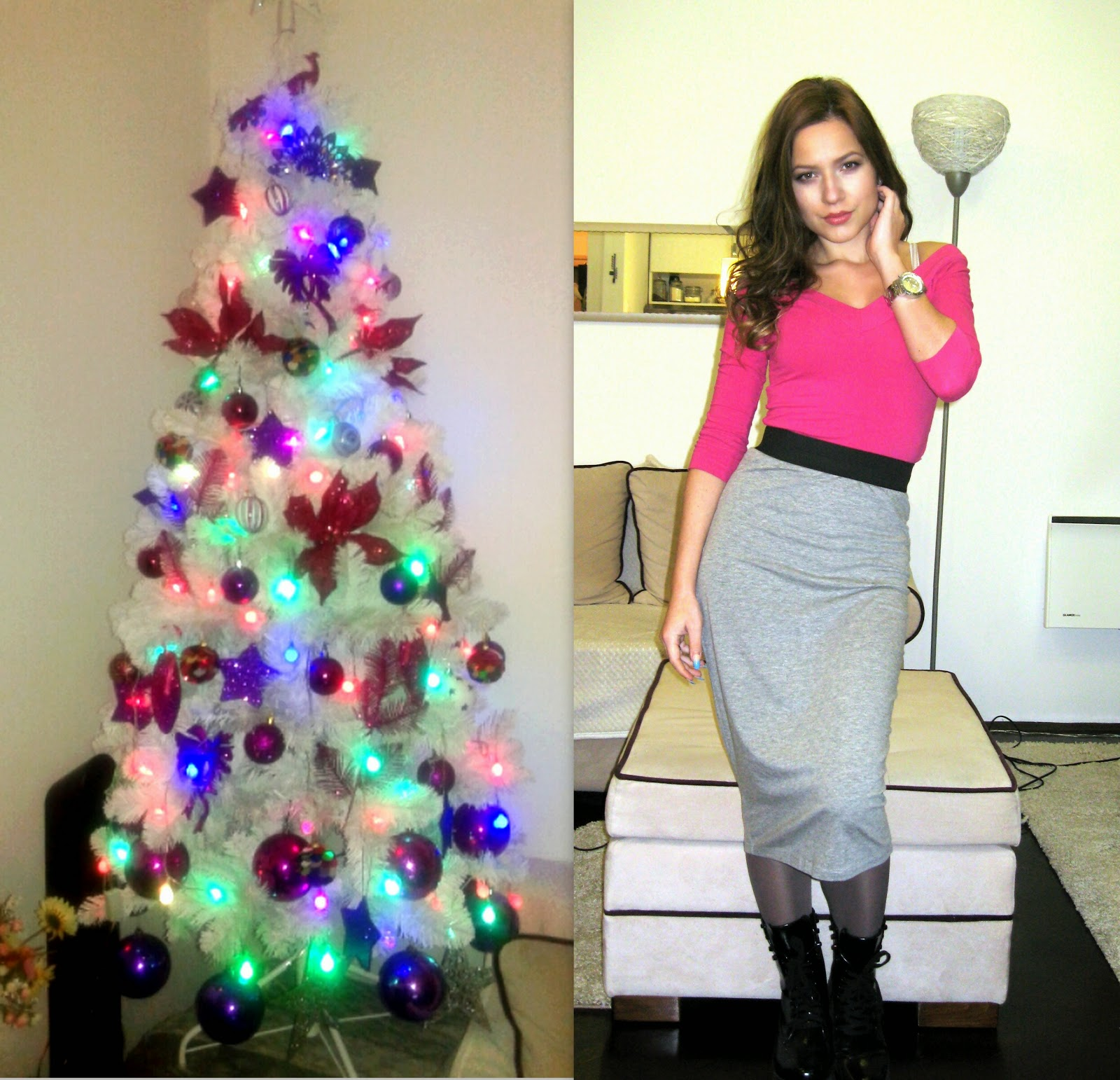 outfit, new years outfit, nye outfit, happy new year, happy 2015, grey pencil skirt, pink off shoulder top, black combat boots, dr martens boots, michael kors watch, christmas tree