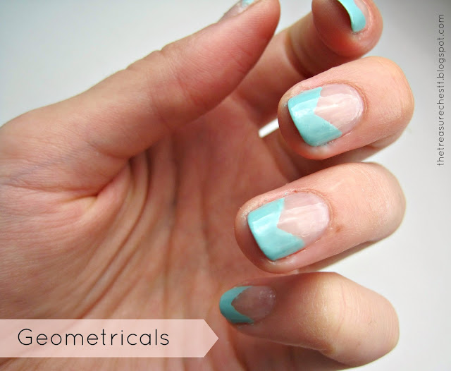geometric angle french manicure tips nails