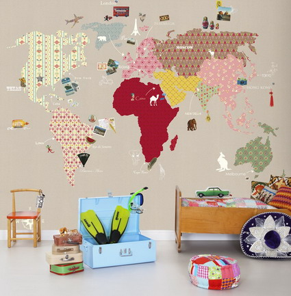 Mad for mid century vintage wallpaper world map for travel nursery if you can find it this vintage looking world map wallpaper would be a great addition to any travel themed nursery gumiabroncs Gallery