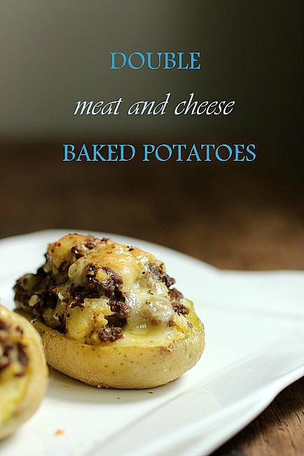 Double Baked Meat and Cheese Potatoes
