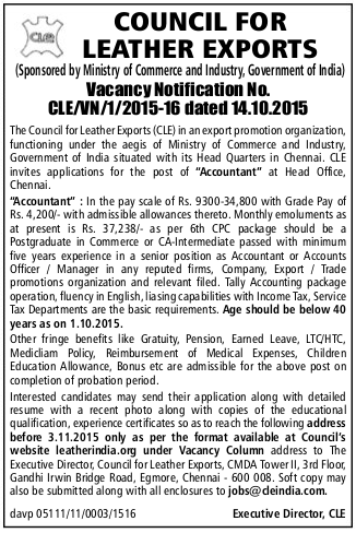 Applications are invited for Accountant Post in Council for Leather Exports (CLE) Chennai