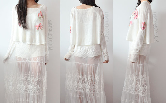 Front, side, and back views of this ulzzang and goddess-inspired all-white beach boho outfit, featuring a Snidel cropped long sleeve floral sweater, lace up high-waisted shorts, and a sheer slip maxi dress from SheIn.