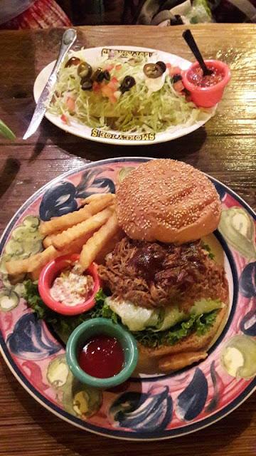 Pulled pork burger and salad at Smokey's Joe Rib House and Pub