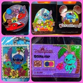 HKDL 2008 GET WELL SOON / 2009 SPACE / 2010 EASTER STITCH+SCRUMP / 2013 CREDIT CARD SCRUMP PINS