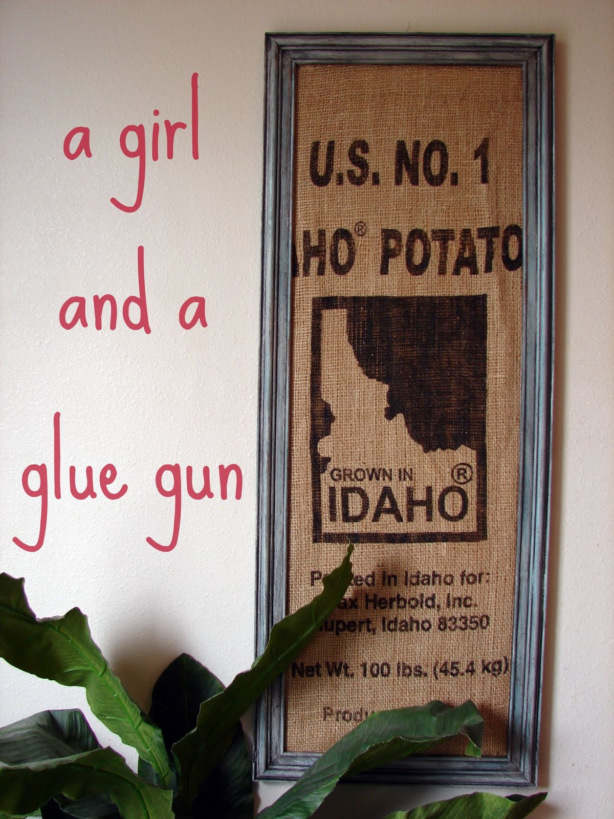 Very Cute Framed Burlap Potato Sack By And A Glue Gun