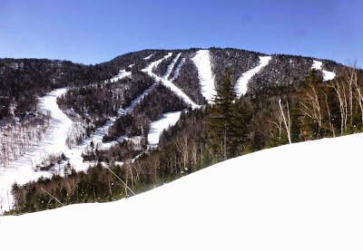 Blue skies over Gore's summit on Saturday, 02/28/2015.  The Saratoga Skier and Hiker, first-hand accounts of adventures in the Adirondacks and beyond, and Gore Mountain ski blog.