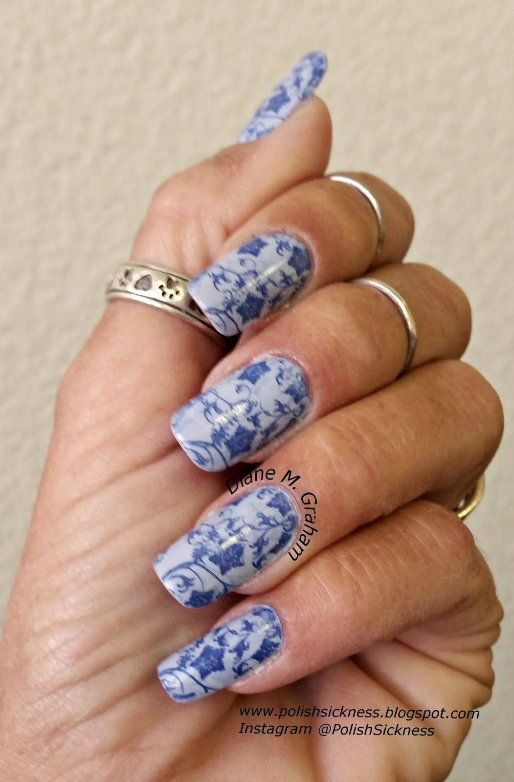 China Glaze Agent Lavender and Fade Into Hue, American Apparel Mount Royal, Llarowe LLC-A stamp