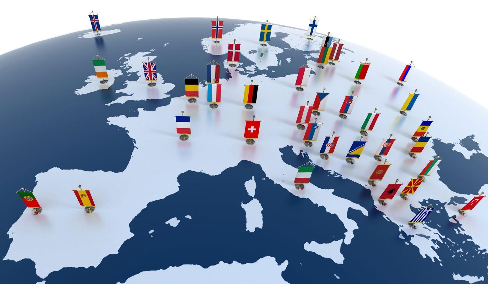 Pintar bandeiras de países de Europa
