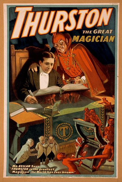 circus, classic posters, free download, graphic design, magic, movies, retro prints, theater, vintage, vintage posters, Thurston the Great Magician - Vintage Magic Poster