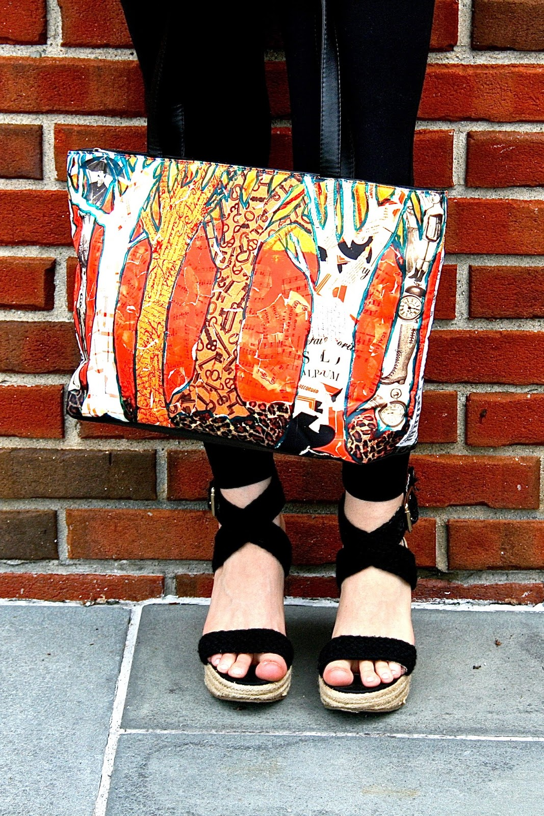 printed handbag | cayenne red