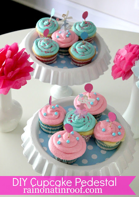 DIY Cupcake Holders {rainonatinroof.com} #DIY #party #cupcake #pedestal #holder