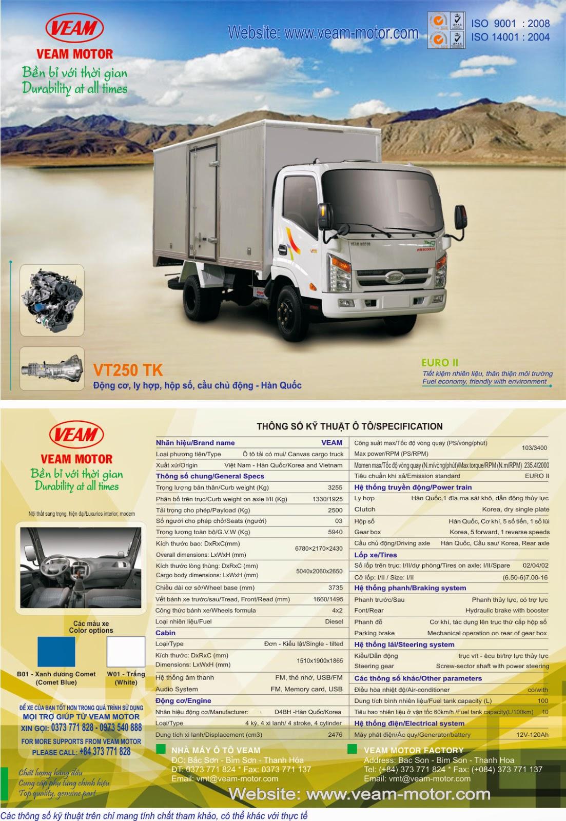 xe tải Veam 2 tấn 5 - VT250 TK