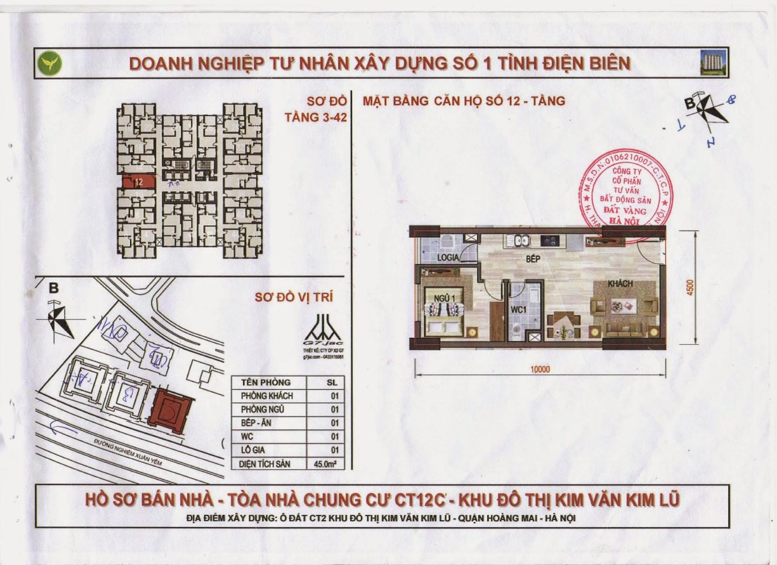 sơ đồ căn hộ 45m dự án kim văn kim lũ ct12a